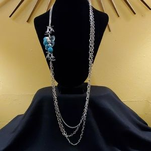 LOFT Teal Cluster Pendant Necklace #545